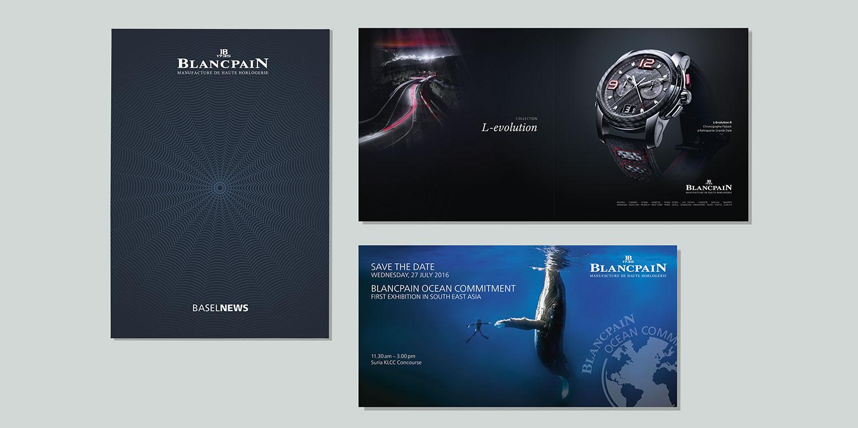 diverses invitations pour la marque de montre Blancpain