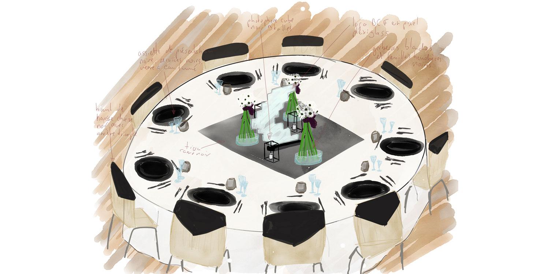 Plan de table de la salle pour la fête annuelle du personnel de la BCF