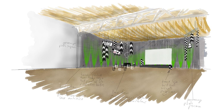 Croquis du projet de décoration de la salle pour la fête annuelle du personnel de la BCF