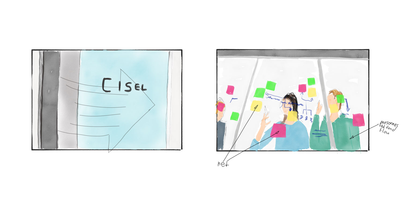 Storyboard du film institutionnel pour l'entreprise Cisel