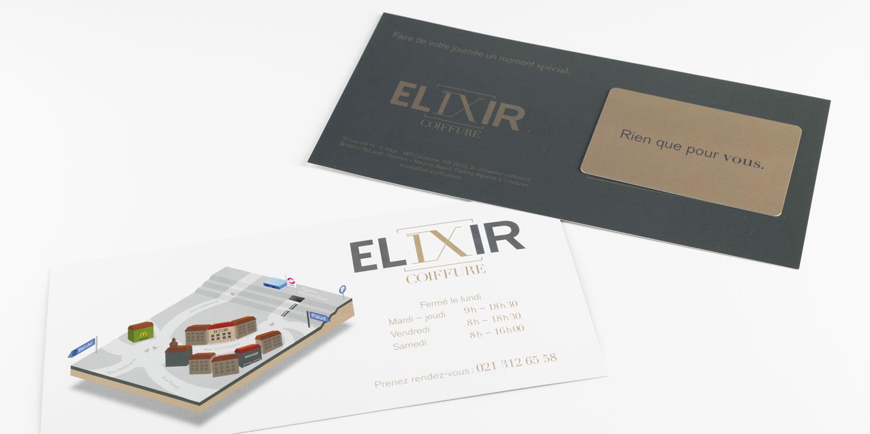 Carte cadeau du salon de coiffure Elixir à Lausanne
