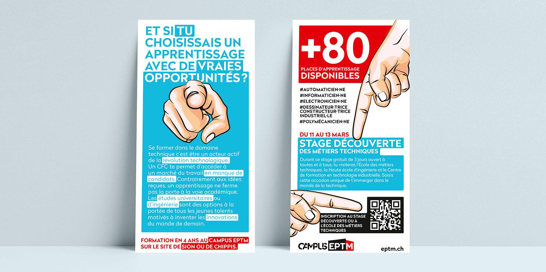 flyer pour la présentation des stages découvertes le campus de l'EPTM