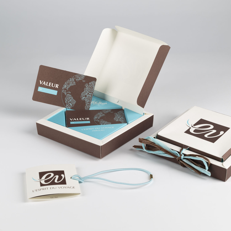 Boîte cadeau pour l'agence de voyage Esprit du voyage à Fribourg