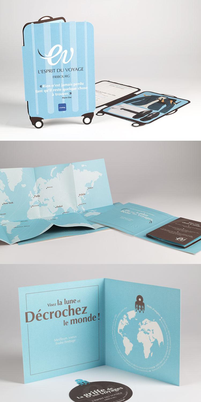 cartes de voeux pour l'agence de voyage Esprit du voyage à Fribourg