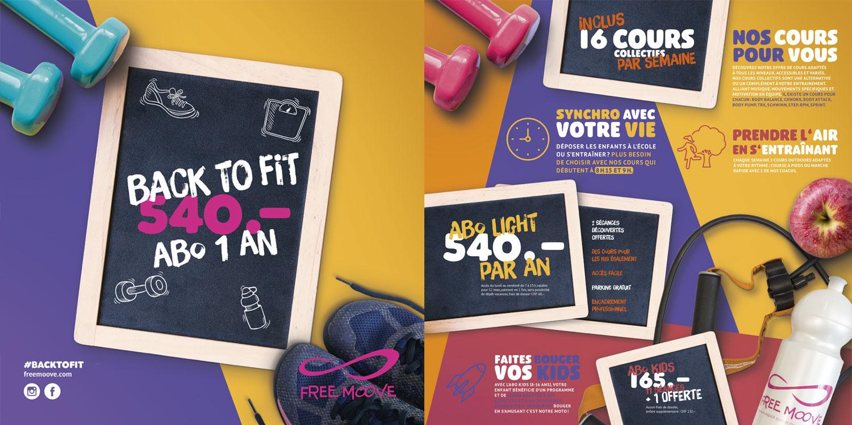 Flyer promotionnel de la rentrée du fitness Free Moove
