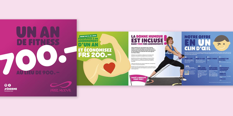 Flyer de présentation des offres d'abonnement du fitness Free Moove