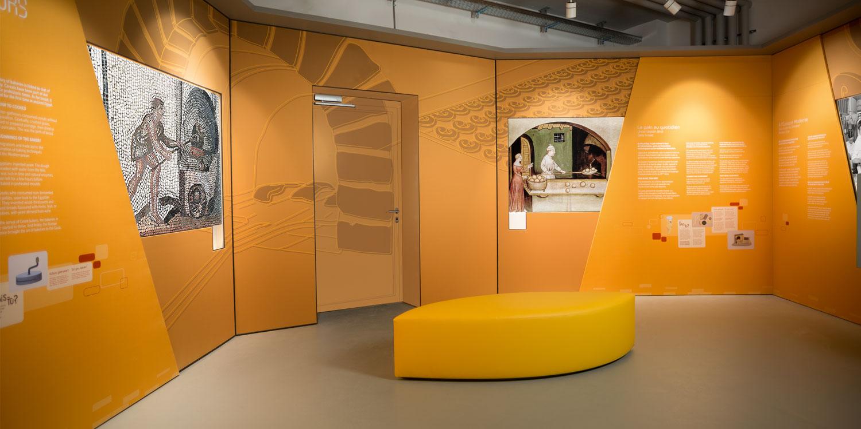 Habillage du musée, création graphique et signalétique La Fabrique à Champagne