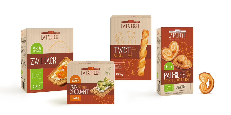 Gamme de packagings de twist, palmiers, zwieback pour la marque La Fabrique à Champagne