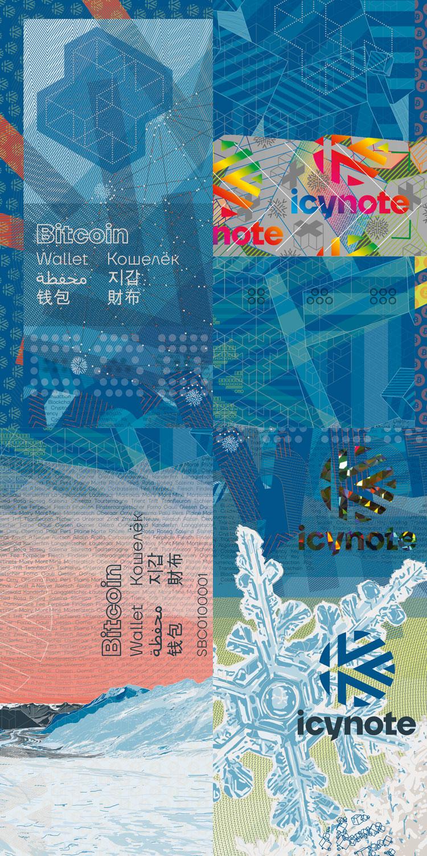 design du billet icynote cold wallet